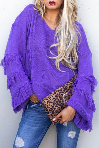 Purple Fringe Detail V-Neck Sweater