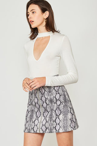 Snakeskin Zipper Front Skirt in Charcoal & Cream
