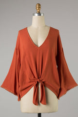 Woven Top w/ Bell Sleeves & Front Tie in Rust