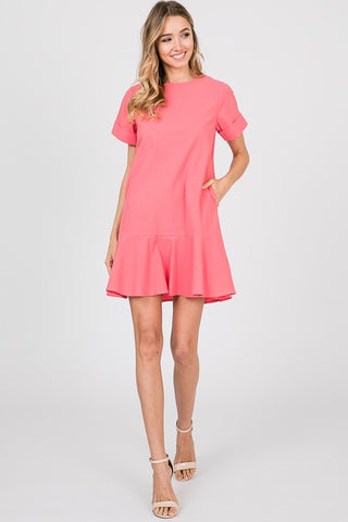 RUFFLED HEM SOLID MINI DRESS WITH POCKETS