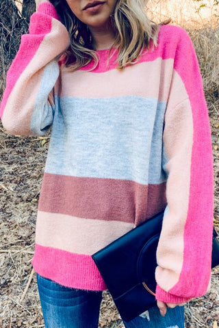 Pink Multi Stripe Sweater