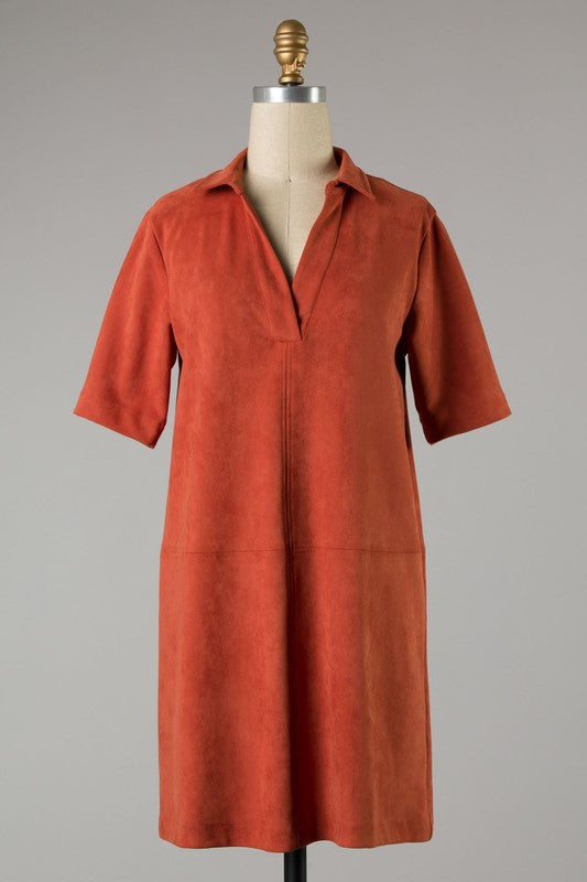 Faux Suede Shift Dress in rust