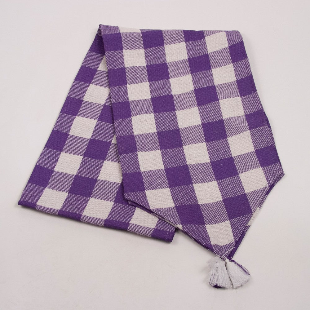 Burlap Runner Check Purple & White