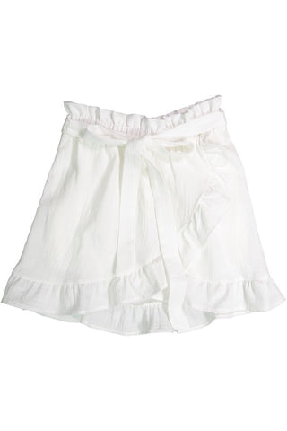 White Ruffled Woven Skirt