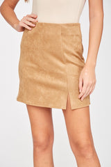 Front Slit Suede Skort (multiple colors)