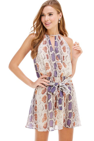 Purple & Orange Snake High Neck Dress