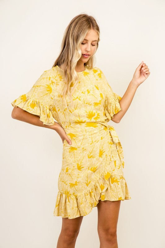 RUFFLED BODY YELLOW PALM WRAP DRESS