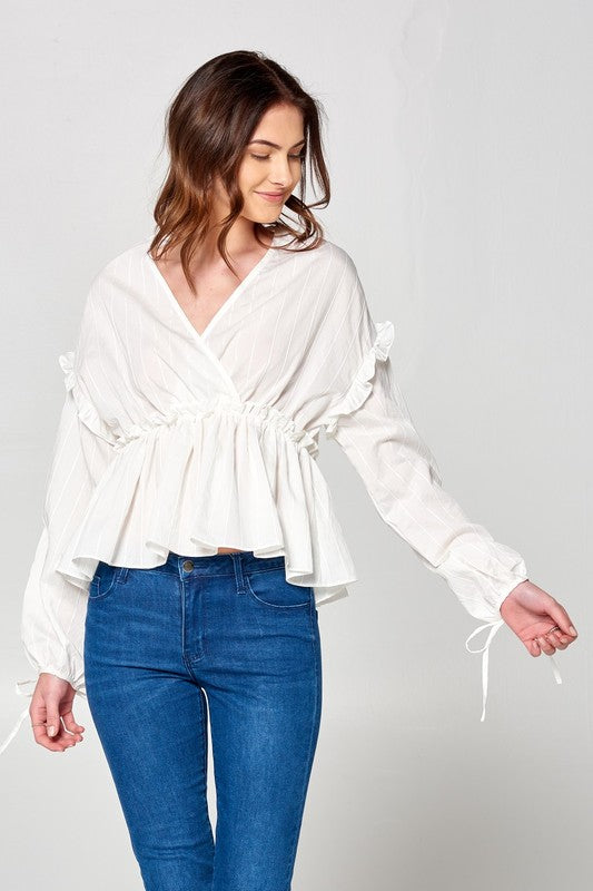 White V Neck Ruffled Stripe Top With Ribbon Tie