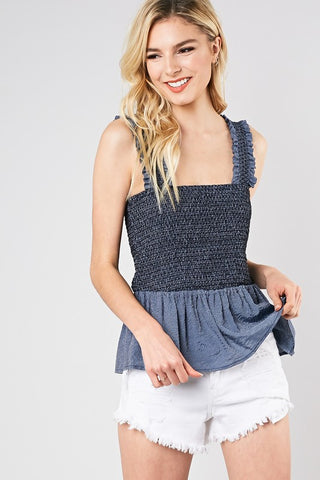 Ruffled Tube Top with Straps