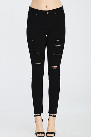 DISTRESSED BLACK DENIM SKINNY JEANS