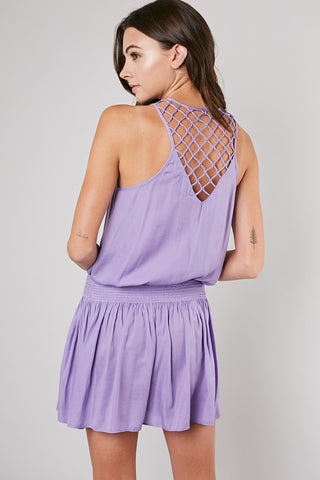 Lavender Smocked Waist Back Point Dress