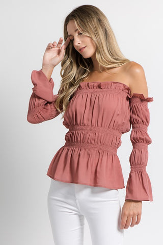 Off the Shoulder Elastic Band Blouse in Burnt Orange