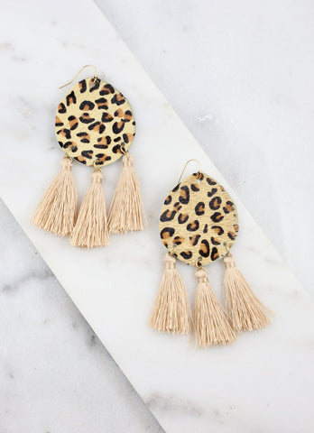 Leopard Earrings with Drop Fringe Tassels