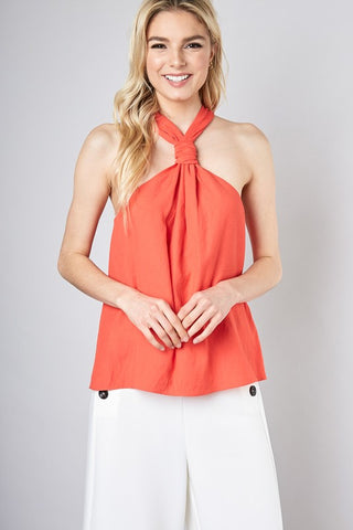 Front Tie Neck Point Top (Multiple Colors)