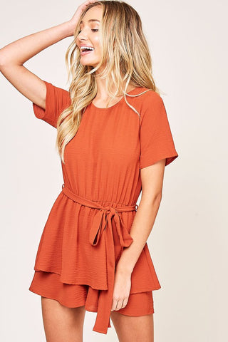 Ribbon-Tie Waist Romper in Rust