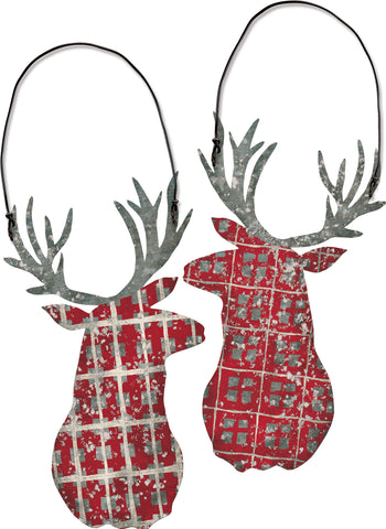 Plaid Deer Head Ornament