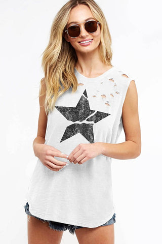 Distressed Graphic Tank Top