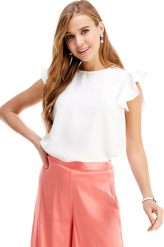 White Round Neck Ruffle Sleeve Top