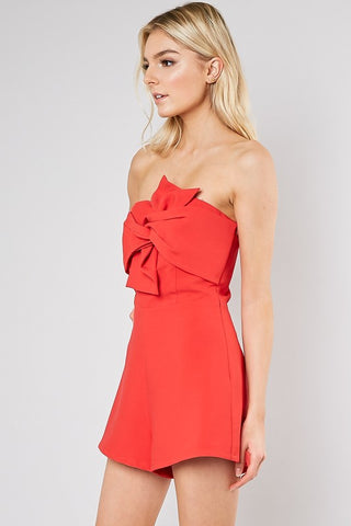 Strapless Romper w/ Front Knot (Multiple Colors)