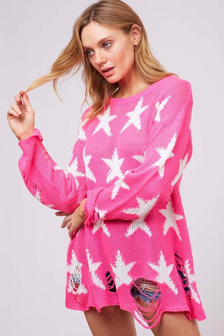 Distressed Star Sweater (Multiple Colors)