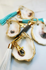 Gold Gilded Oyster Tassel Keychain