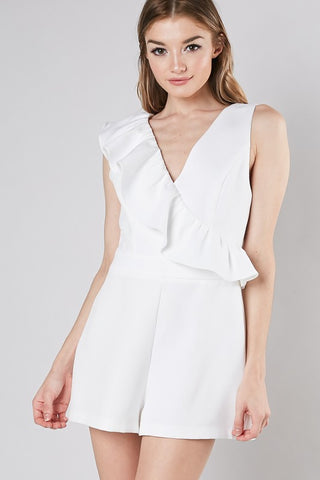 White Ruffled Down Romper
