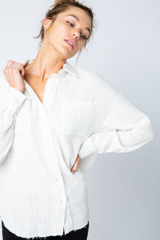 Raw Edge Button Down Ivory Top