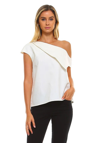 One Shoulder Layered Top in White