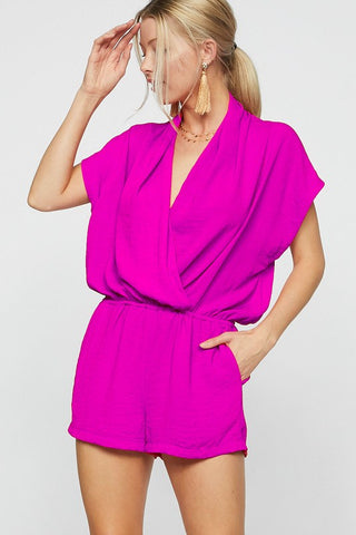 Short Sleeve Woven Romper (Multiple Colors)