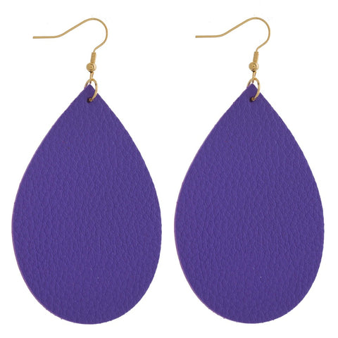 Purple Leather Teardrop Earrings