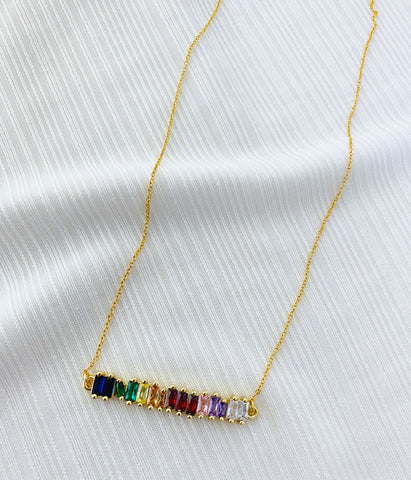Rainbow Bling Bar Necklace