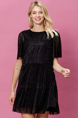 Metallic Pleat Tier Detail Dress