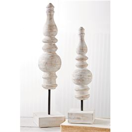 White Wash Decorative Finials
