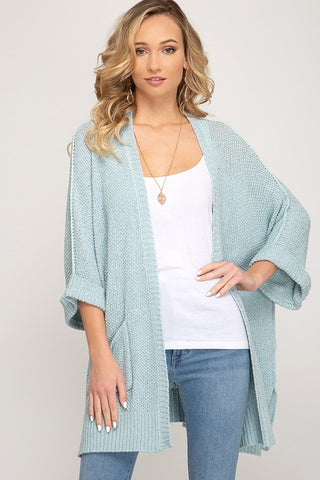 HALF SLEEVE OPEN FRONT SWEATER CARDIGAN WITH POCKETS IN SKY BLUE