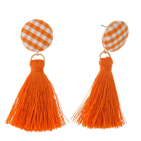 Gingham Fabric Stud Earrings Orange
