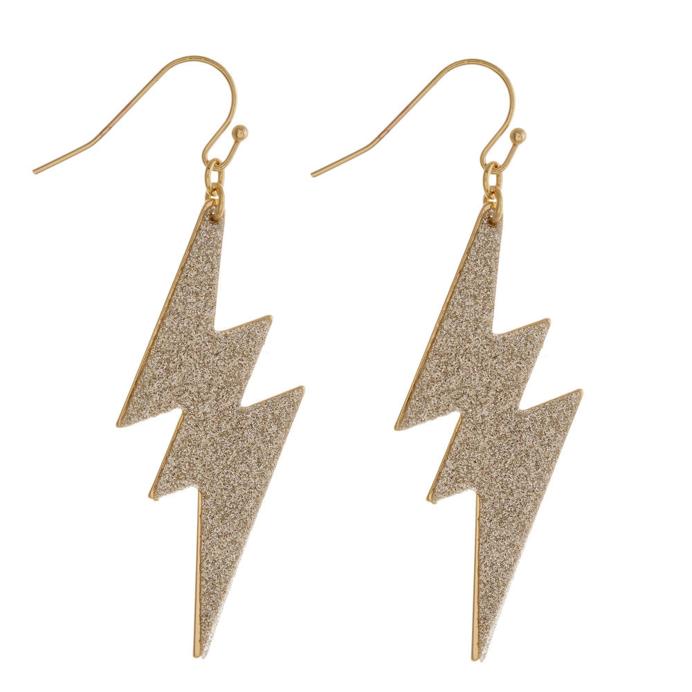 Lightning Bolt Gold Dangle Earrings