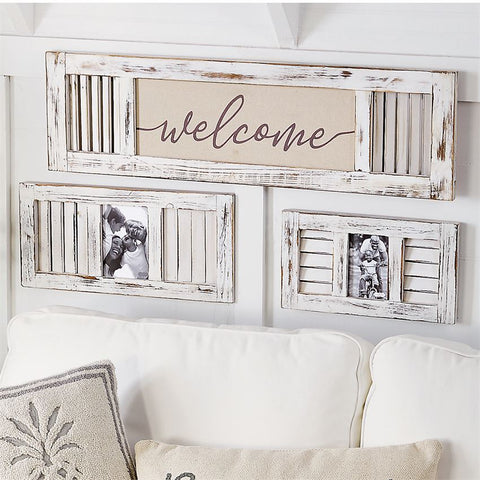 Welcome Wood & Linen Shutter Plaque