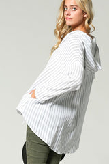 OVERSIZE STRIPED POCKET HOODIE