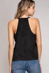 High Neck Cropped Faux Suede Top (multiple colors)