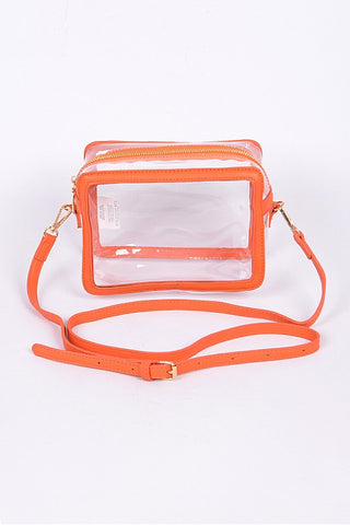 Clear Crossbody with Orange Trim