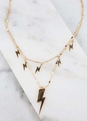 Gold Double Layered Lighting Bolt Necklace