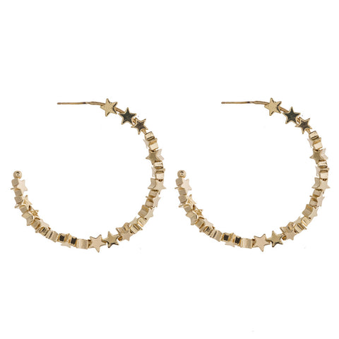 Gold Beaded Star Hoop Earring