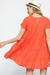 Orange Textured Ruffle Dress