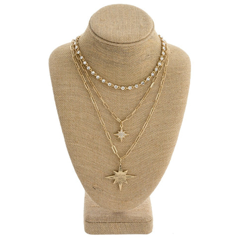 Gold Layered Starburst Necklace