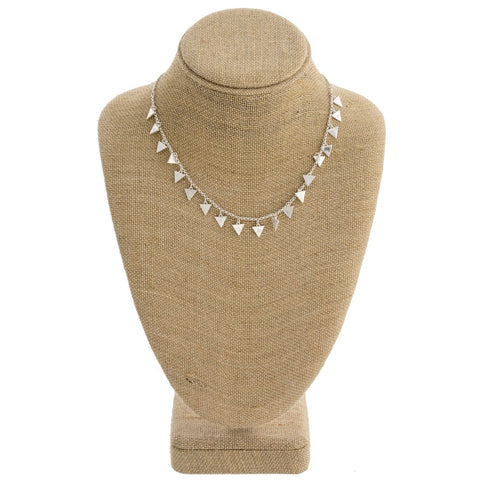 Silver Chain Necklace with Triangle Pendants