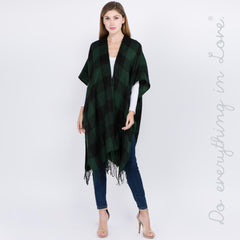 Buffalo Check Kimono with Fringes