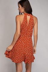 Polka Dot Halter Dress w/ Ruffle Hem