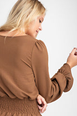 Coffee Square Neck Long Sleeve Top