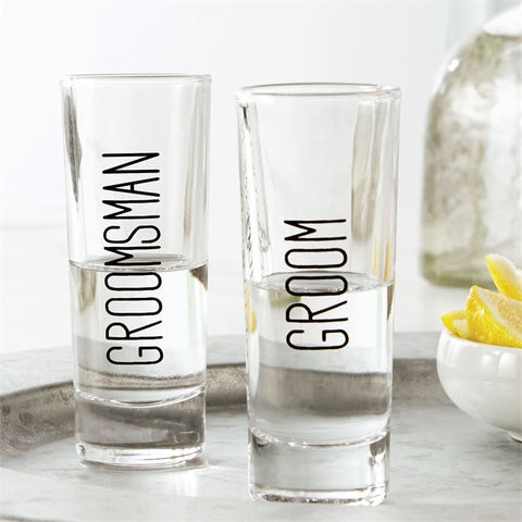 Groom's Party Tall Shot Glasses