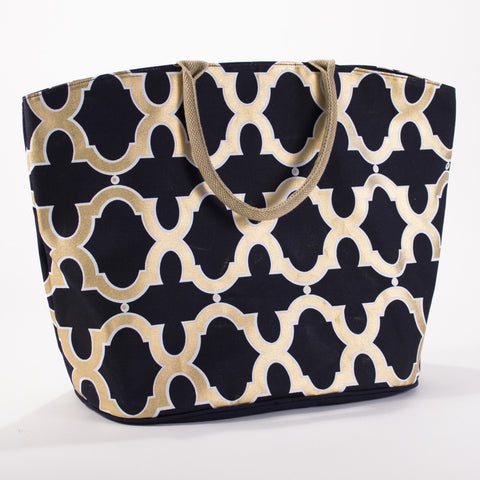 Cayman Glamour Arch Tote in Navy/Gold